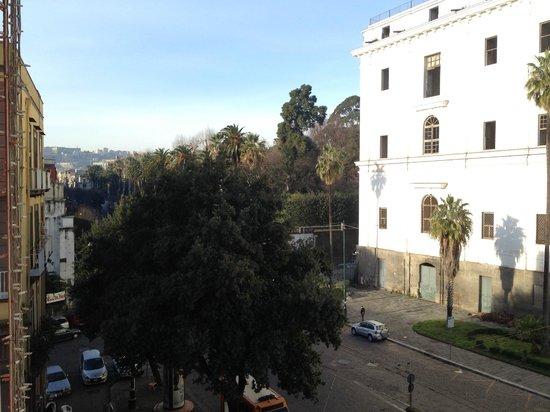 Hotel Ferdinando II: вид из номера на улицу Foria и ботанический сад