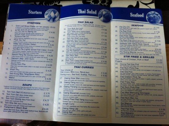 Gold Leaf Thai Restaurant Westcliff Menu