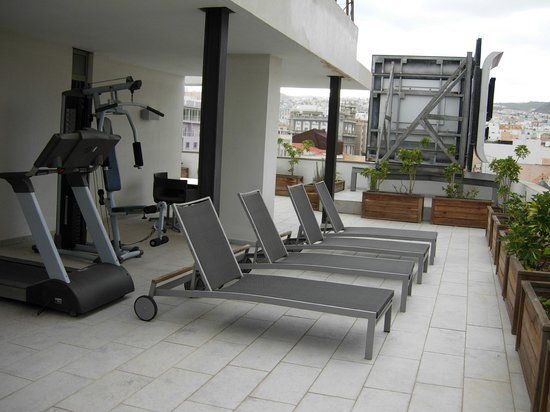 NH Tenerife: The fitness area situated on the terrace at the highest floor
