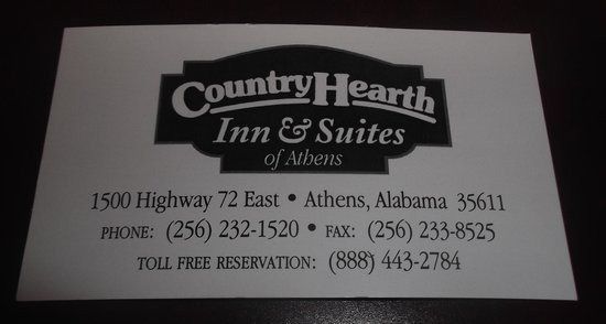 Country Hearth Inn Athens: Business card / Carte d'affaire.
