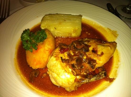 The Day Spa at Whittlebury Hall: chicken supreme and dauphinoise potatoes at whittlebury