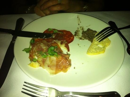 The Day Spa at Whittlebury Hall: iTalian Meat Platter at Whittebury with hot Tapenade (?)