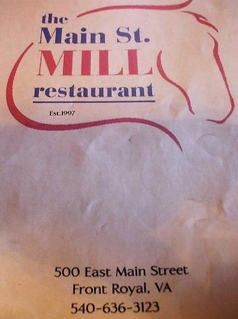 Main Street Mill Restaurant and Pub: The restaurant menu