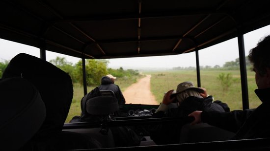 Dulini Lodge: In the vehicle, wearing our rain ponchos