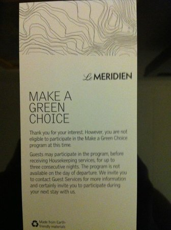 "Le Meridien Abu Dhabi : Rejected ""Green Initiative"" - 3 nights minimum"