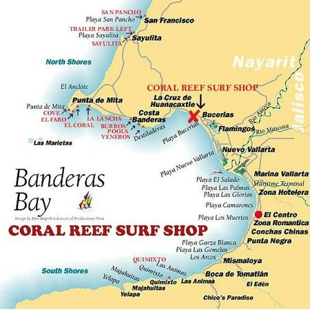 Tomatlan Mexico Map.Map Of Banderas Bay Picture Of Coral Reef Surf Shop Bucerias