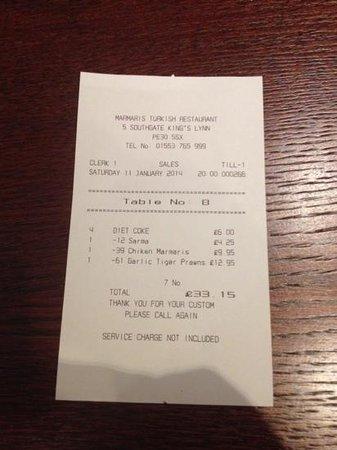 marmaris turkish restaurant: receipt