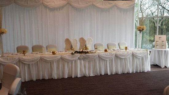Macdonald Kilhey Court: top table.lakeside room