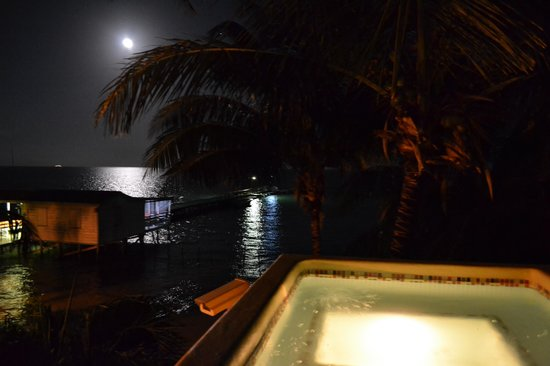 Seaside Cabanas: Unit #1: moon rising from the rooftop hot tub