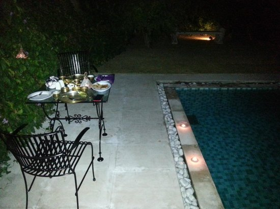 Tree of Life Resort & Spa Jaipur : pool side dinner - in house villa