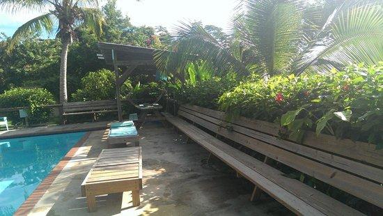 La Finca Vieques: Pool area (solar showers behind)