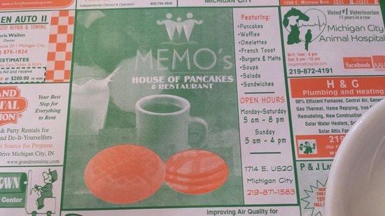 menu picture of memos house of pancakes michigan city tripadvisor