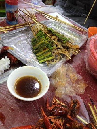 UnTour Shanghai Food Tours: Prawns, Dipping Sauce, Garlic Shoots