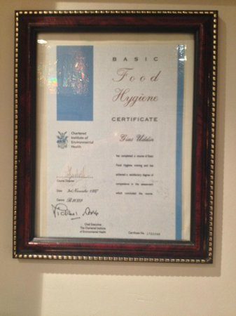 Joy Balti House: Good Food certifcate