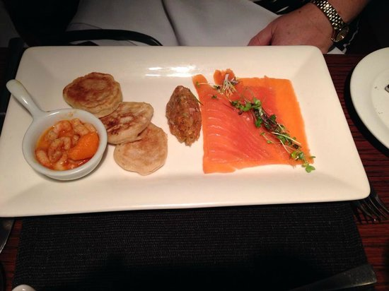 Severn & Wye Vintage Cure Smoked Salmon, Potted Prawns, Salmon Tartare, Homemade Pikelets