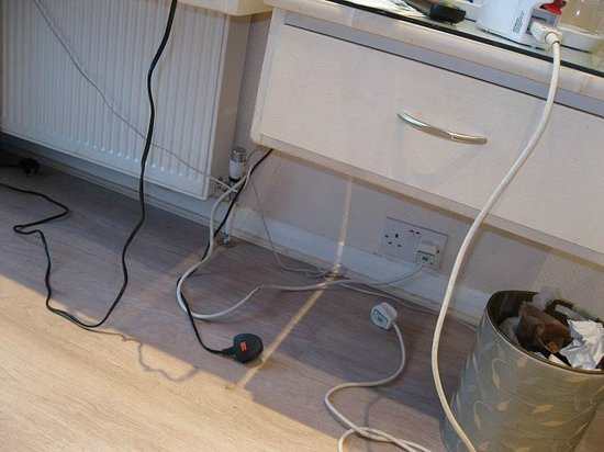 Amsterdam Hotel : Sockets inaccessible, messy wires...