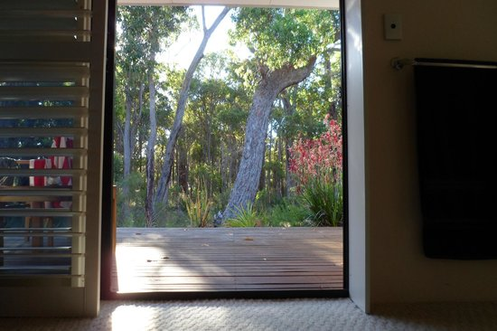 """""""Seclusions"""" of Yallingup : The view out of the Coast Suite onto the private balcony"""