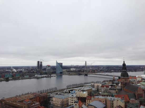 View of Riga from St Peter's Church Tower: Река сверху