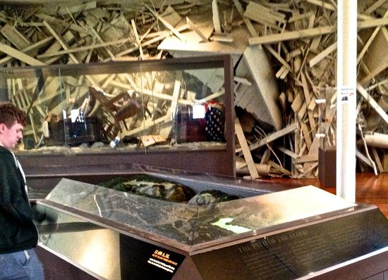 Johnstown Flood Museum: Part of the sound and light relief map with 'debris' behind