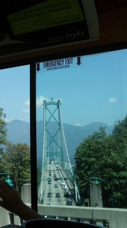 The Vancouver Trolley Company : Lions Gate Bridge as spied from the trolley through Stanley Park