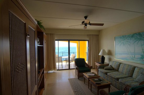 """The Royal Sea Aquarium Resort : The main living room, the two """"doors"""" are pull down beds"""