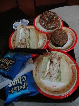 Starring Rolls Cafe: Turkey sandwich, bagel and cupcake