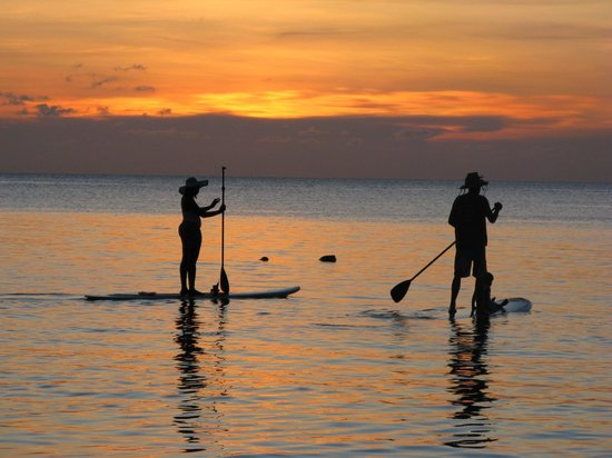 West Bay Lodge and Spa : Paddle Boarders at Sunset (West Bay)