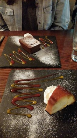 Viva Brazil: Puddings: Chocolate brownie & Caramel flan