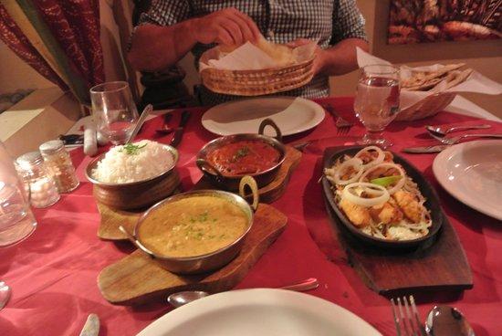 Sitar Indian Restaurant : Chicken Tikka Masala, rice, Tandoori and some coconut dish