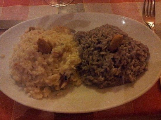 Il vicolo: 2 mezze porzioni, 1 di risotto al tartufo e 1 funghi e barolo