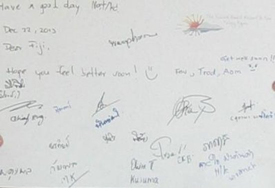 The Sunset Beach Resort & Spa, Taling Ngam: The 'get well soon' note signed by all the staff
