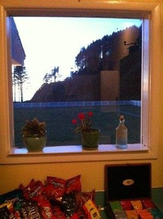 Heceta Head Lighthouse Bed and Breakfast : View of lighthouse from guest kitchen