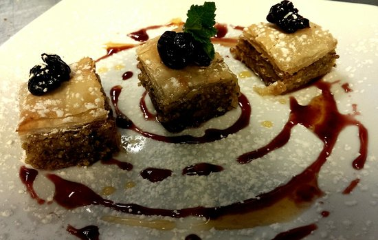 Bha! Bha! Bistro: In house made Baklava with sour cherry compote