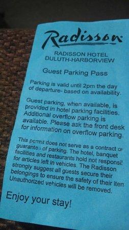 Radisson Hotel Duluth - Harborview: Parking Slip