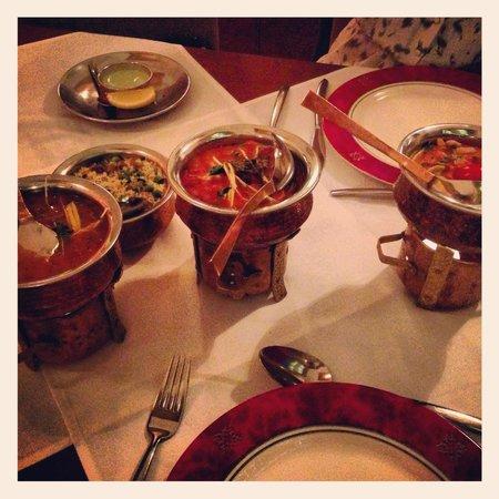 Chicken Taj Mahal, Lamb Tikka Masala, Beef Cury, & Peas Pulao