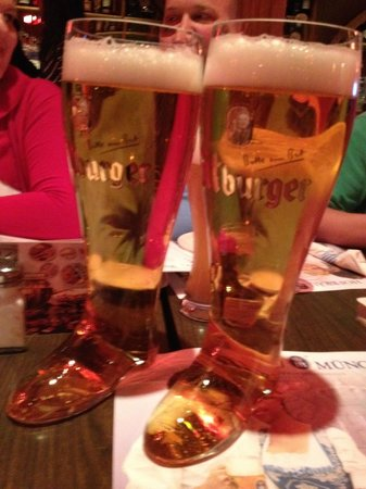 Chicago Brauhaus : 2 liters of Beer in a glass boot! Awesome!