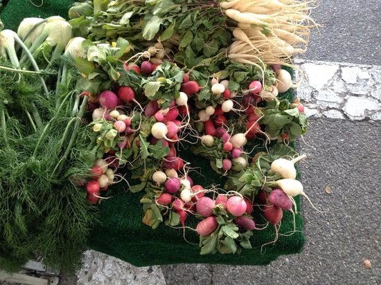 CROSSINGS: Heirloom radishes from the local farmers market selected by executive chef Lalo Sanchez