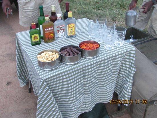andBeyond Kirkman's Kamp: bar set up on safari
