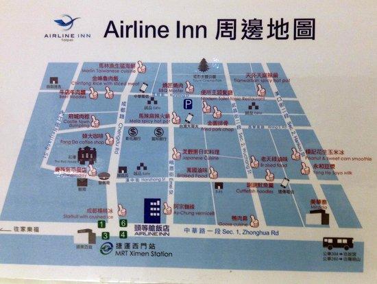 Airline Inn Taipei Zhong Hua: Map of area around Airline Inn