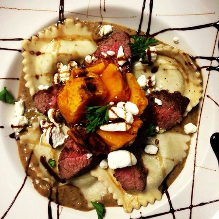 McKinney's Tavern: Roasted Butternut Squash with Goat Cheese Ravioli and Flank Steak