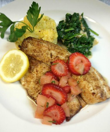 McKinney's Tavern: Spicy Tilapia with Fruit Salsa and Kale