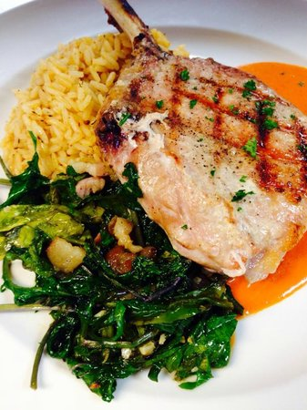 McKinney's Tavern: Grilled French-cut Pork Chop with Benton's Bacon Kale and Rice Pilaf