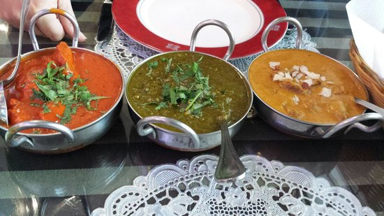 Indian Star Tandoori Restaurant : From left to right: butter chicken, saag paneer and lamb korma