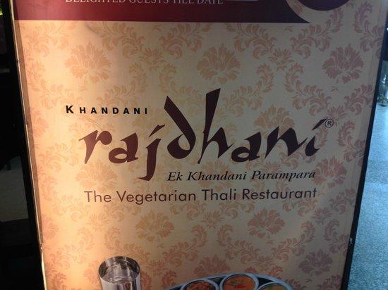Rajdhani Thali : The restaurant's facade