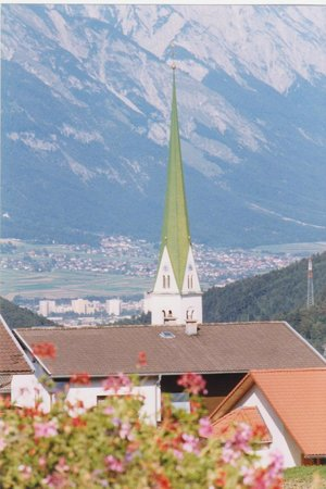 Sporthotel Schieferle: The Spire of Mutters Church.
