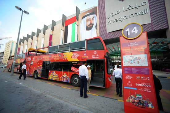 City Sightseeing Sharjah at Sharjah Mega Mall bus stop Picture of