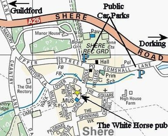 Map Of Shere Surrey The White Horse Pub Recommended Car Parks - Map out walking distance