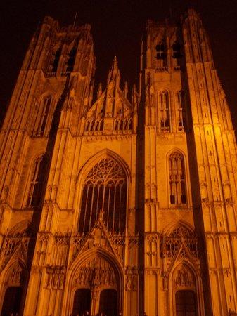 Cathédrale Saints-Michel-et-Gudule de Bruxelles : cattedrale saint michel et saint gudule - esterno - notte
