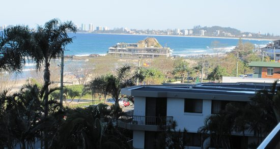 The Rocks Resort: Looking south over the Currumbin Surf Club