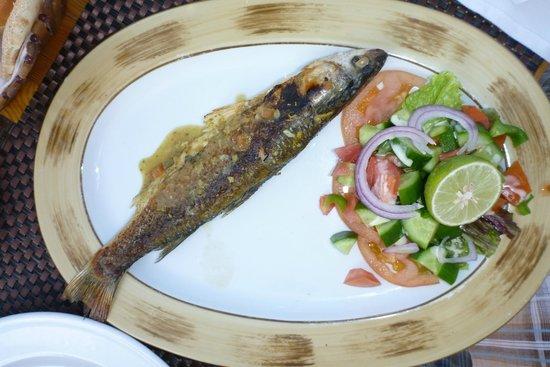Iberotel Makadi Beach: Nilbarsch im Beachrestaurant mittags